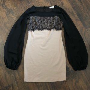 3/$25 Solemio Black Beige Long Sleeve Mini Dress